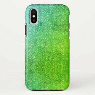 Grüne helle bunte Neonmit Blumenvitalität iPhone X Hülle