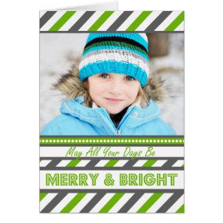 Grüne HELLE Streifen-Weihnachtskarte Karte