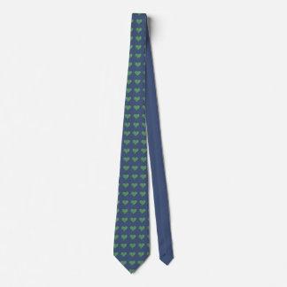 Grüne Herzen auf Blau Individuelle Krawatten