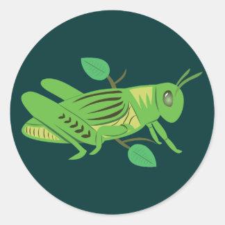 Grüne Heuschrecke Runder Aufkleber
