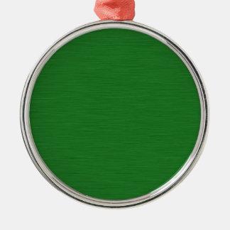 Grüne Holzmaserung Rundes Silberfarbenes Ornament