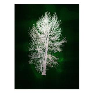 Grüne Imitat-metallische Baumpostkarte Postkarte