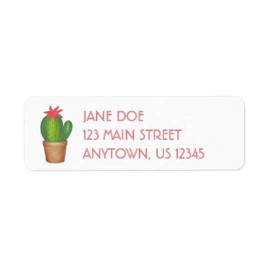 Grüne Kaktus-Blumen-eingemachte Kleiner Adressaufkleber