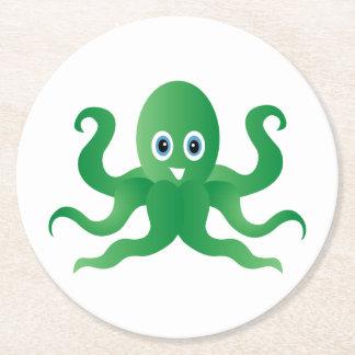 Grüne Kraken des Spaßes Runder Pappuntersetzer