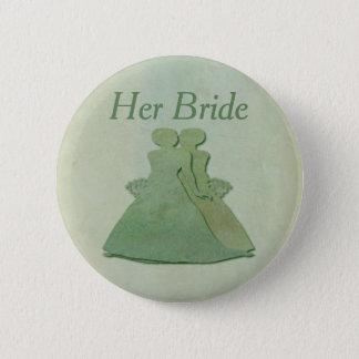 Grüne Lesbe ihr Braut-Abzeichen - tadelloses Runder Button 5,1 Cm