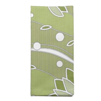 Grüne Lotos-Blumen auf olivgrünen Streifen Stoffserviette