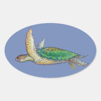 grüne Meeresschildkröte Ovaler Aufkleber