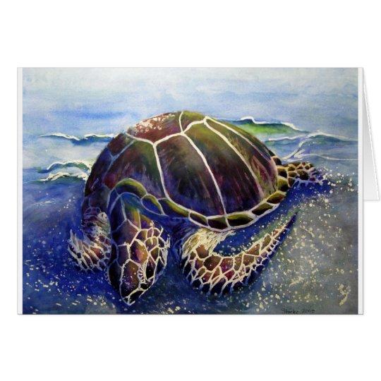 Grüne Meeresschildkröte Schlafens Grußkarte