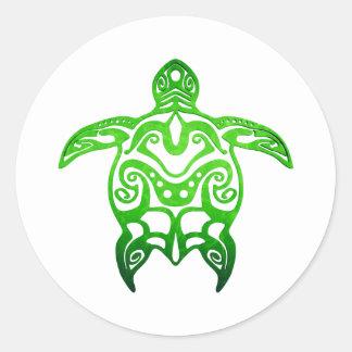 Grüne Meeresschildkröte Stammes- Runder Aufkleber
