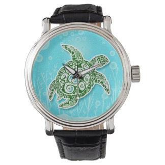 Grüne Meeresschildkröte Unterwasser Armbanduhr