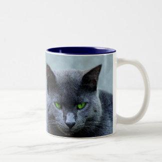 Grüne mit Augen Katzen-Tasse Zweifarbige Tasse