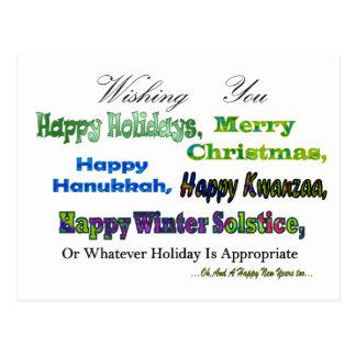 Grüne multi Feiertagsgrüße Postkarte