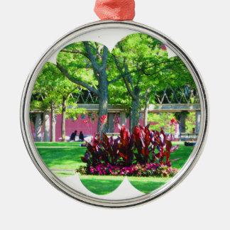 Grüne Natur-Fotografie Bostons USA Amerika Silbernes Ornament