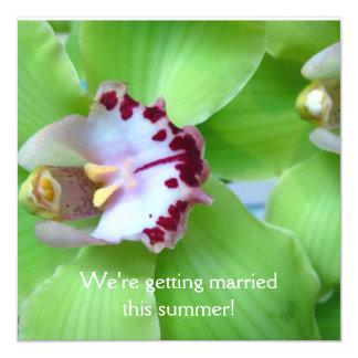 Grüne Orchideeneinladungen Quadratische 13,3 Cm Einladungskarte
