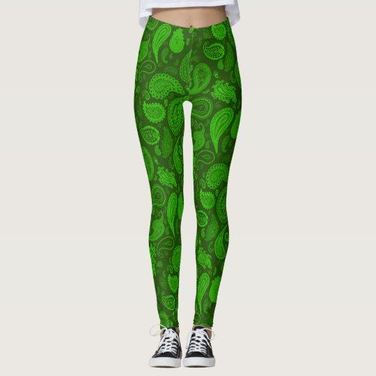 Grüne Paisley Designer-Gamaschen Kelly durch Julie Leggings