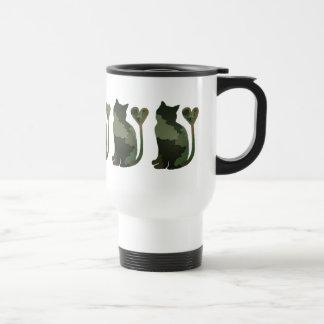 Grüne Patchwork-Camouflagekitty-Katze Edelstahl Thermotasse