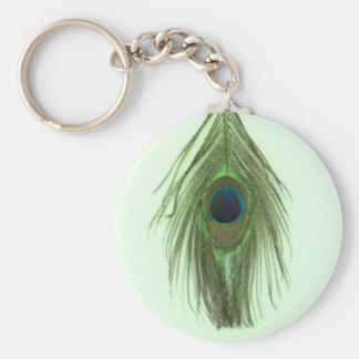 Grüne Pfau-Feder auf Grün Standard Runder Schlüsselanhänger