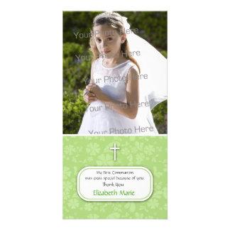 Grüne religiöse Foto-mit Blumenkarte Foto Karten Vorlage