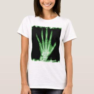 Grüne Röntgenstrahl-Skelett-Hand T-Shirt
