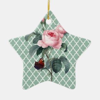 Grüne Rose Orient Keramik Stern-Ornament