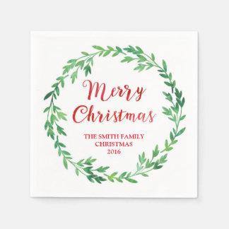 Grüne rote Aquarell-Kranz-Weihnachtsserviette Papierserviette