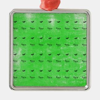 Grüne Schmetterlinge Quadratisches Silberfarbenes Ornament