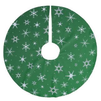 Grüne Schneeflocken Polyester Weihnachtsbaumdecke