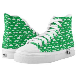 Grüne Schnurrbart-Tennis-Schuhe Hoch-geschnittene Sneaker