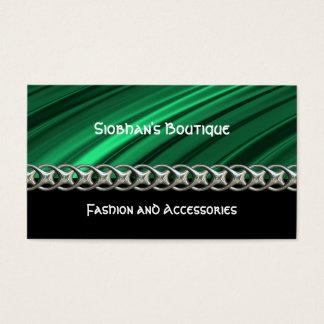 Grüne, schwarze, silberne Kette, Monogramm Visitenkarte