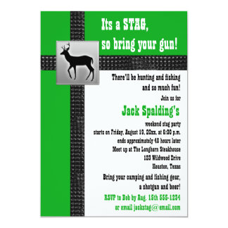 Grüne, schwarze und weiße Hirsch-Einladung 12,7 X 17,8 Cm Einladungskarte