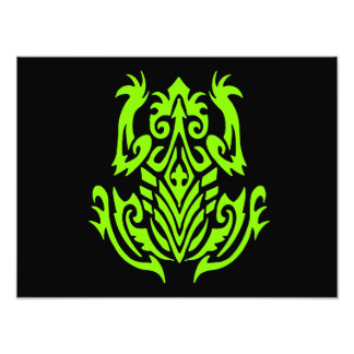 Grüne Stammes- Frosch-Silhouette Kunst Photo