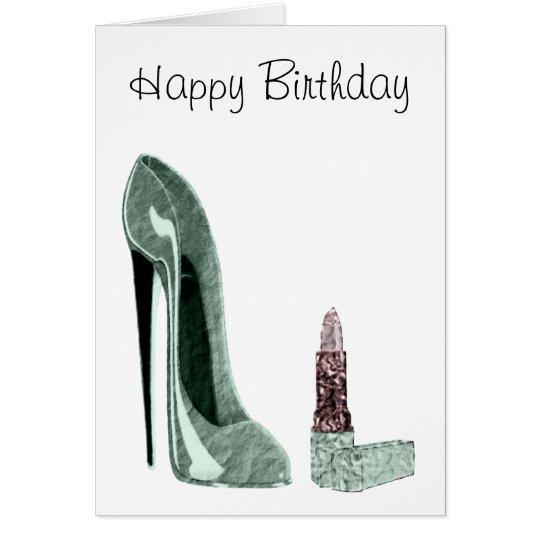 Grüne Stilett-Schuh-und Lippenstift-Kunst Grußkarte