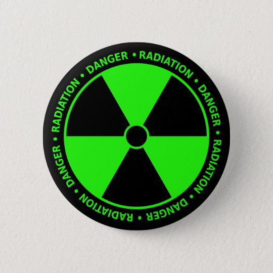 Grüne Strahlungs-warnender Knopf Runder Button 5,7 Cm