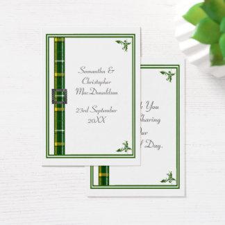 Grüne Tartanbandhochzeit danken Ihnen zu Visitenkarte