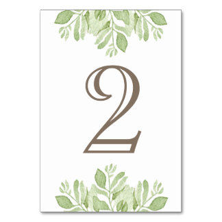 Grüne Tischnummer Blatt-Gartenwatercolor-|