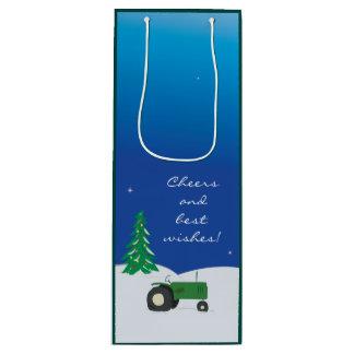 Grüne Traktor-u. Geschenktüte Für Weinflaschen