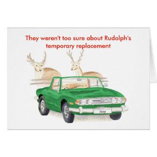 Grüne Triumph-Hirsch-Weihnachtskarte Grußkarte