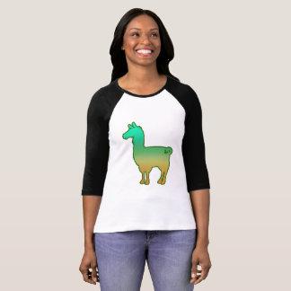 Grüne tropische Lama-Damen 3/4 T - Shirt
