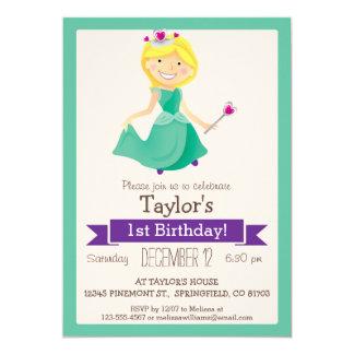 Grüne u. lila Prinzessin, der Geburtstags-Party 12,7 X 17,8 Cm Einladungskarte