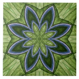 Grüne und blaue Blumen-Fraktal-Keramik-Fliese Keramikfliese