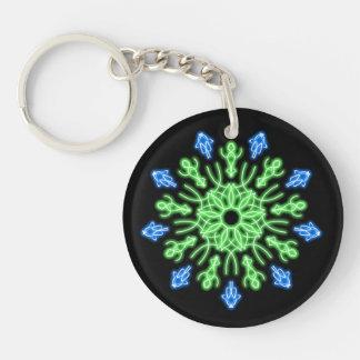 Grüne und blaue NeonBlume Schlüsselanhänger