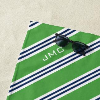 grüne und blaue Streifen des Monogramm-3-Letter Strandtuch