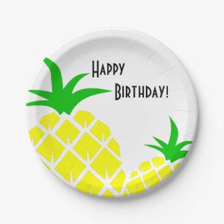 Grüne und gelbe Ananas-alles Gute zum Geburtstag Pappteller