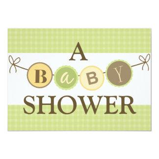 Grüne und gelbe Babyparty-Einladung