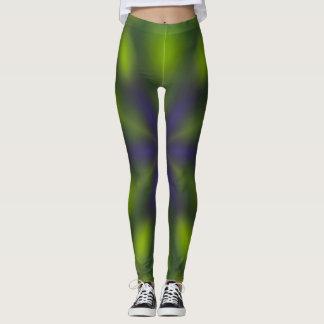 Grüne und lila Krawatten-Art-Gamaschen Leggings
