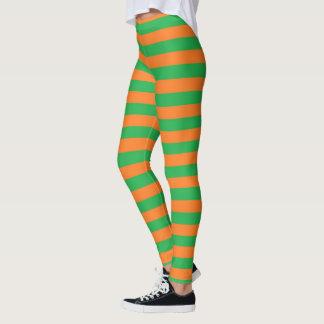 Grüne und orange Streifen Leggings