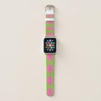 Grüne und rosa Raute Apple Watch Armband