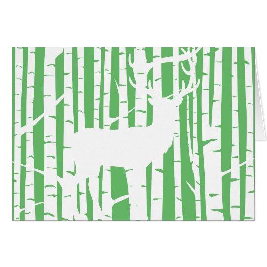 Grüne und weiße Birken-Baum-Waldgruß-Karte Karte