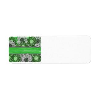 Grüne und weiße Blumen Rücksendeetikett