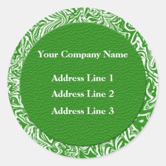 Grüne und weiße Geschäftsadresse Lables Runder Aufkleber